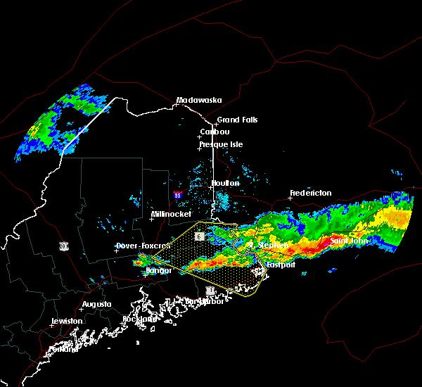 Radar Image for Severe Thunderstorms near Woodland, ME at 6/12/2017 7:18 PM EDT