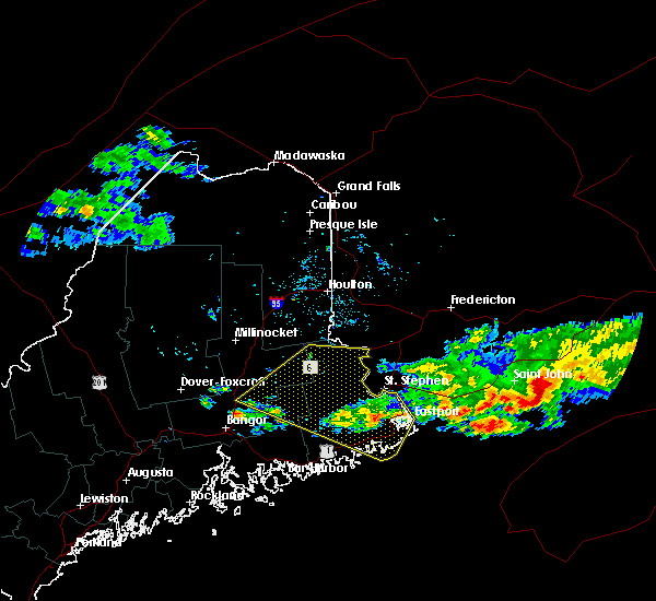 Radar Image for Severe Thunderstorms near Woodland, ME at 6/12/2017 7:44 PM EDT