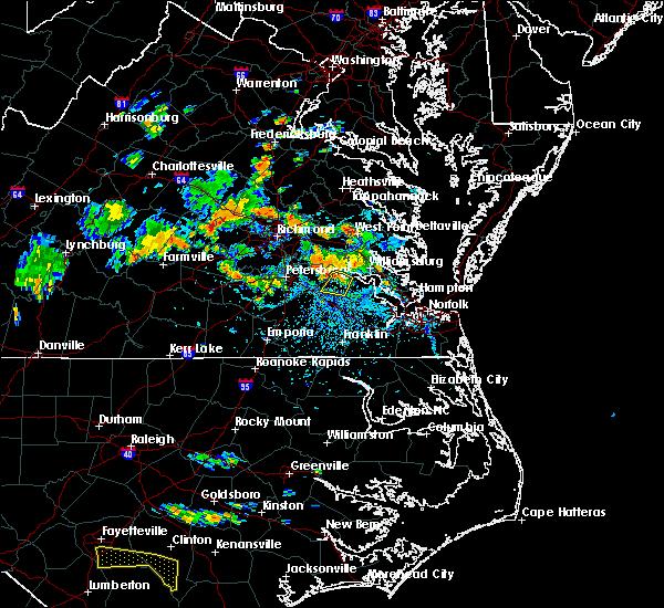 Radar Image for Severe Thunderstorms near Claremont, VA at 6/14/2017 5:25 PM EDT