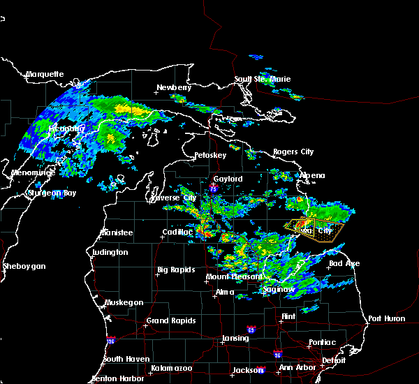 Radar Image for Severe Thunderstorms near Au Sable, MI at 6/24/2017 6:18 PM EDT