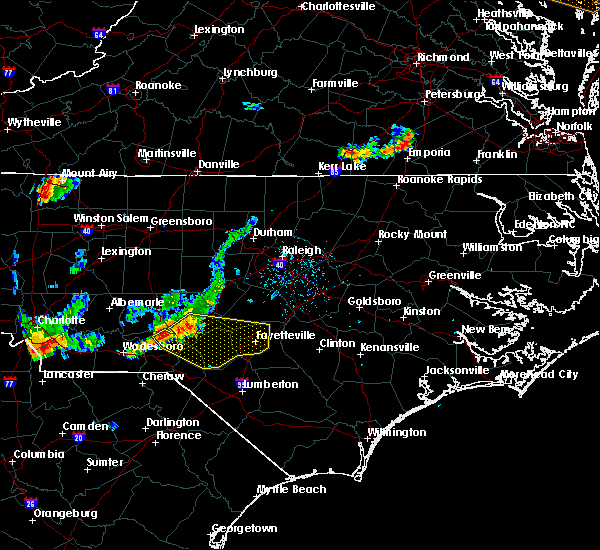 Radar Image for Severe Thunderstorms near Hope Mills, NC at 7/1/2017 6:35 PM EDT