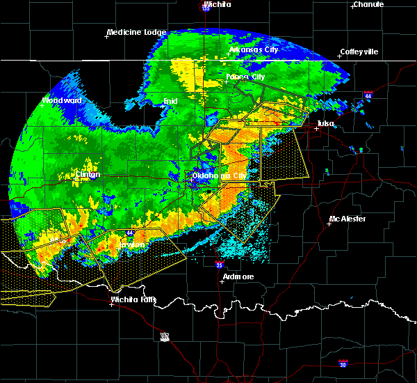 Radar Image for Severe Thunderstorms near Prague, OK at 7/3/2017 10:23 PM CDT