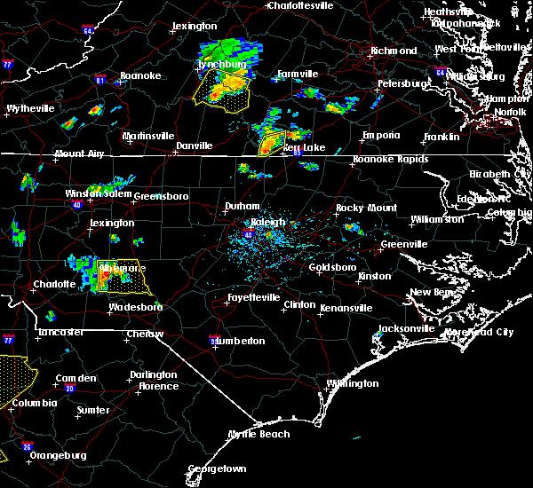 Radar Image for Severe Thunderstorms near Clarksville, VA at 7/6/2017 6:37 PM EDT