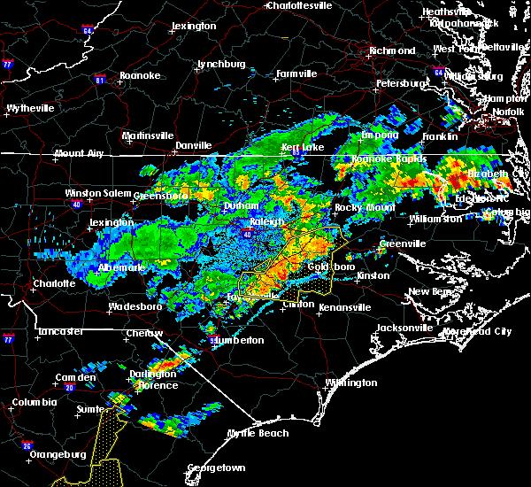 Radar Image for Severe Thunderstorms near Benson, NC at 7/8/2017 9:09 PM EDT