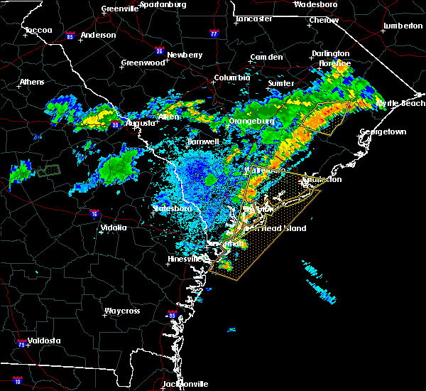Radar Image for Severe Thunderstorms near Edisto Beach, SC at 7/8/2017 10:02 PM EDT