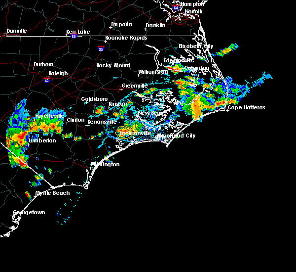 Radar Image for Severe Thunderstorms near Jacksonville, NC at 7/15/2017 6:35 PM EDT