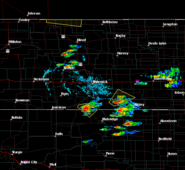 Radar Image for Severe Thunderstorms near Wishek, ND at 7/21/2017 7:36 PM CDT
