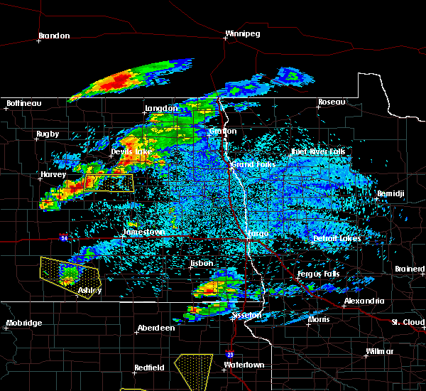 Radar Image for Severe Thunderstorms near New Rockford, ND at 7/22/2017 12:28 AM CDT
