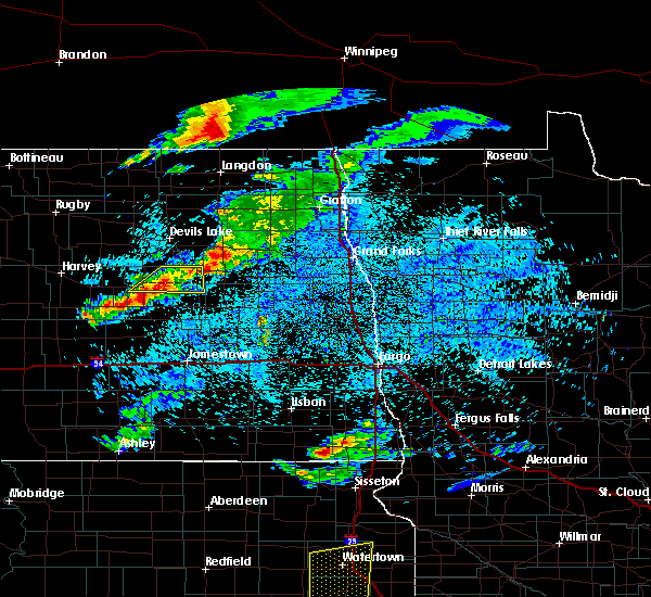 Radar Image for Severe Thunderstorms near New Rockford, ND at 7/22/2017 12:49 AM CDT