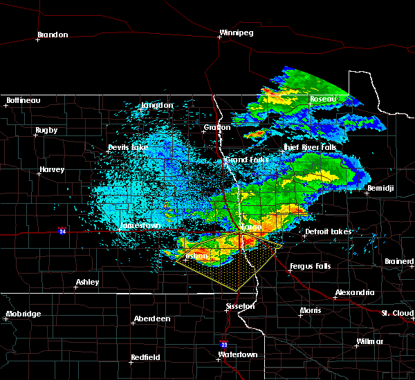 Radar Image for Severe Thunderstorms near Davenport, ND at 7/22/2017 3:31 AM CDT