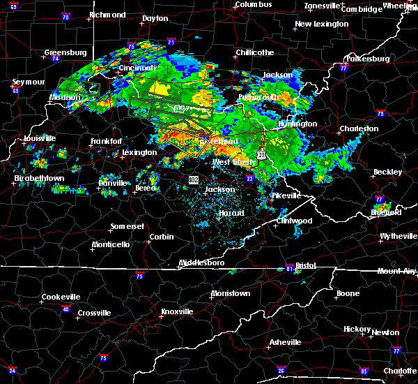 Radar Image for Severe Thunderstorms near Morehead, KY at 7/23/2017 1:29 AM EDT