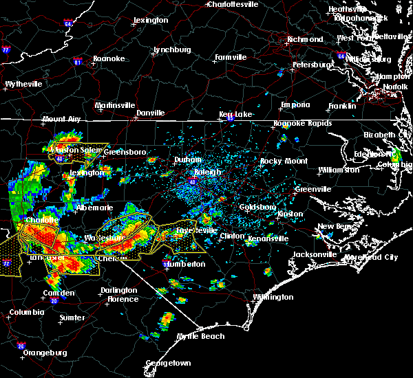 Radar Image for Severe Thunderstorms near Hope Mills, NC at 7/23/2017 4:40 PM EDT