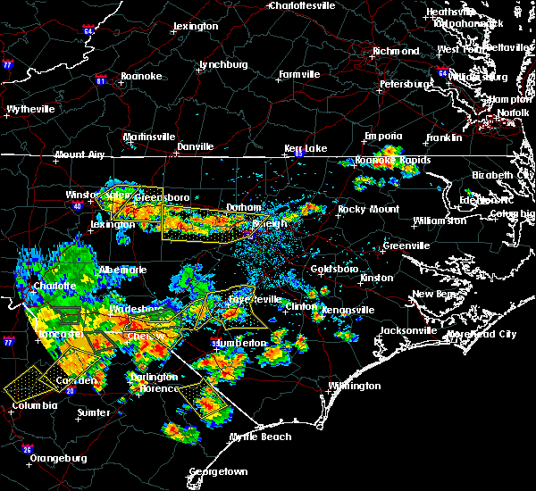 Radar Image for Severe Thunderstorms near Raeford, NC at 7/23/2017 5:46 PM EDT