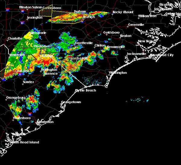 Radar Image for Severe Thunderstorms near Orrum, NC at 7/23/2017 6:09 PM EDT