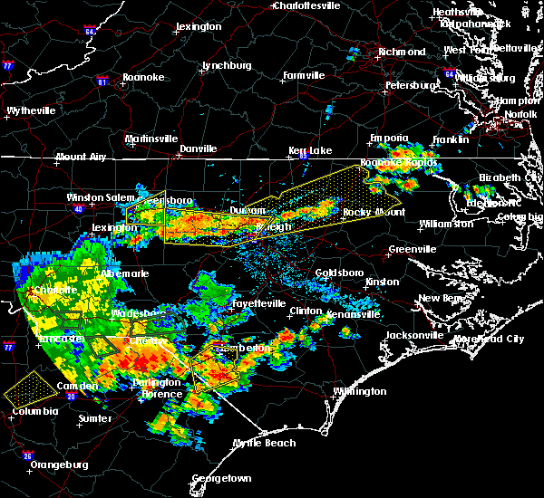 Radar Image for Severe Thunderstorms near Hollister, NC at 7/23/2017 6:15 PM EDT