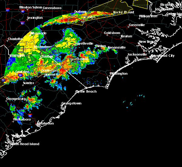 Radar Image for Severe Thunderstorms near Orrum, NC at 7/23/2017 6:44 PM EDT