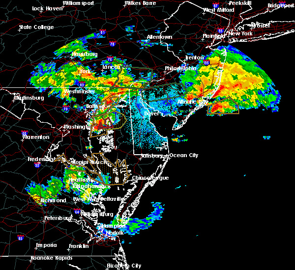 Radar Image for Severe Thunderstorms near Stevensville, MD at 7/24/2017 1:32 AM EDT