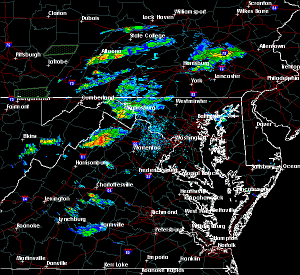 Radar Image for Severe Thunderstorms near Toms Brook, VA at 8/11/2017 4:25 PM EDT