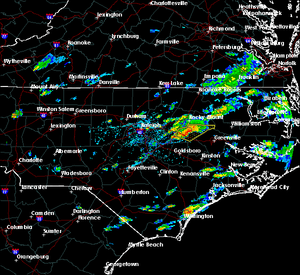 Radar Image for Severe Thunderstorms near Wilson, NC at 8/12/2017 4:58 PM EDT