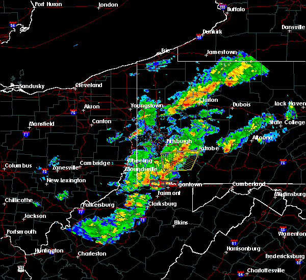 Radar Image for Severe Thunderstorms near Bobtown, PA at 8/22/2017 4:46 PM EDT