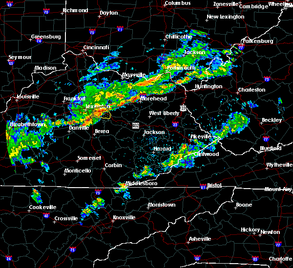 Radar Image for Severe Thunderstorms near Winchester, KY at 8/22/2017 6:53 PM EDT