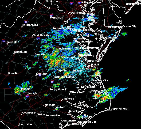 Radar Image for Severe Thunderstorms near Fort Lee, VA at 8/23/2017 2:43 PM EDT