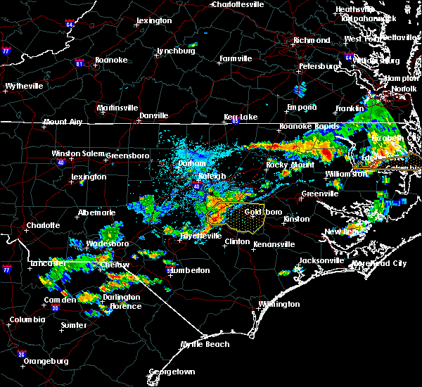 Radar Image for Severe Thunderstorms near Mount Olive, NC at 8/23/2017 5:56 PM EDT