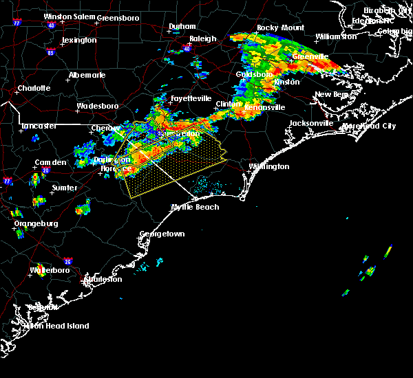 Radar Image for Severe Thunderstorms near Orrum, NC at 8/23/2017 7:25 PM EDT