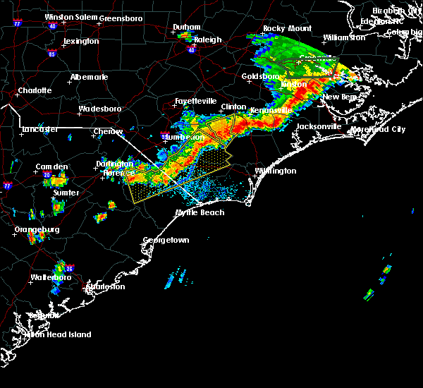Radar Image for Severe Thunderstorms near Fair Bluff, NC at 8/23/2017 8:08 PM EDT