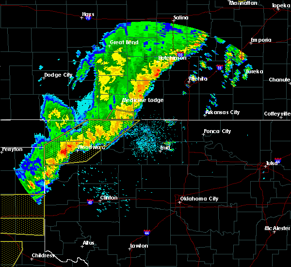 Radar Image for Severe Thunderstorms near Vici, OK at 10/6/2017 10:34 PM CDT