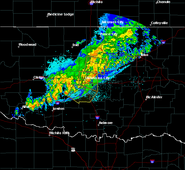 Radar Image for Severe Thunderstorms near Pink, OK at 10/14/2017 11:35 PM CDT