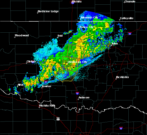 Radar Image for Severe Thunderstorms near Prague, OK at 10/14/2017 11:47 PM CDT