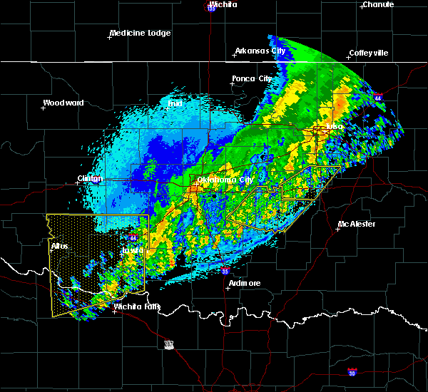 Radar Image for Severe Thunderstorms near Cromwell, OK at 10/15/2017 12:59 AM CDT