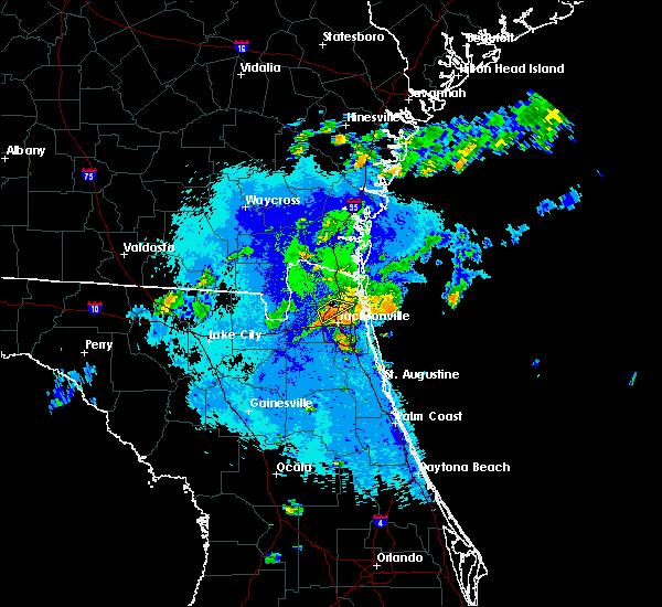 Radar Image for Severe Thunderstorms near Jacksonville, FL at 10/16/2017 8:58 PM EDT