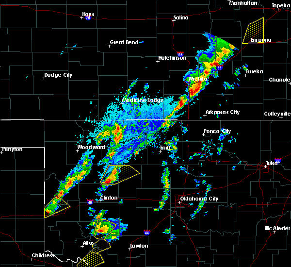 Radar Image for Severe Thunderstorms near Vici, OK at 10/21/2017 4:34 PM CDT