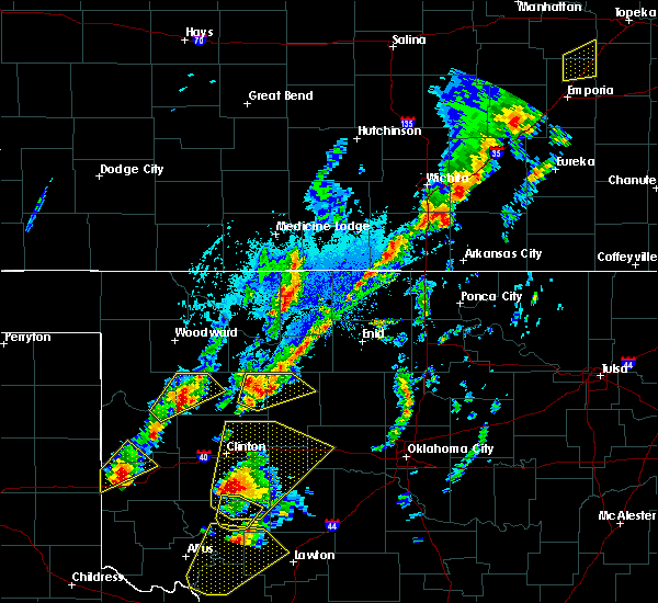 Radar Image for Severe Thunderstorms near Leedey, OK at 10/21/2017 4:56 PM CDT