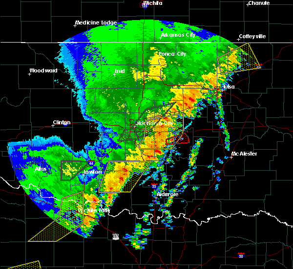 Radar Image for Severe Thunderstorms near Tecumseh, OK at 10/21/2017 9:44 PM CDT