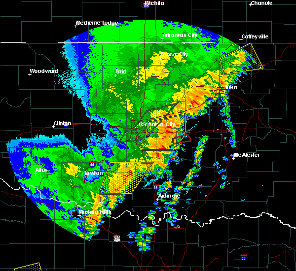 Radar Image for Severe Thunderstorms near Shawnee, OK at 10/21/2017 9:50 PM CDT