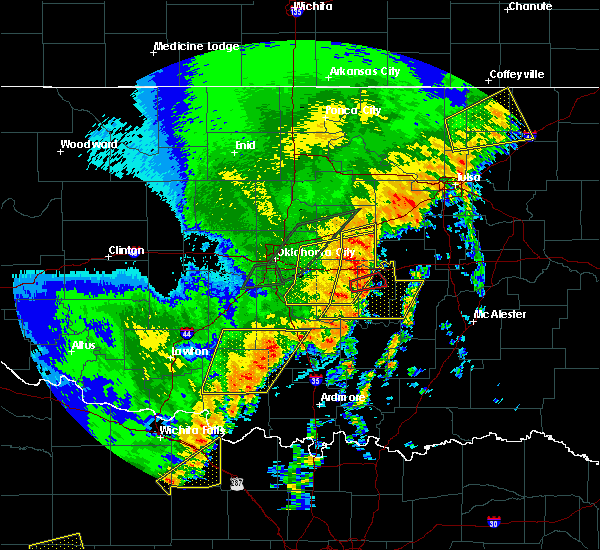 Radar Image for Severe Thunderstorms near Prague, OK at 10/21/2017 9:56 PM CDT