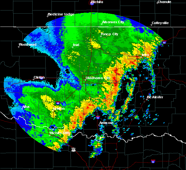 Radar Image for Severe Thunderstorms near Seminole, OK at 10/21/2017 10:11 PM CDT