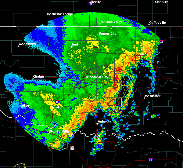 Radar Image for Severe Thunderstorms near Prague, OK at 10/21/2017 10:14 PM CDT