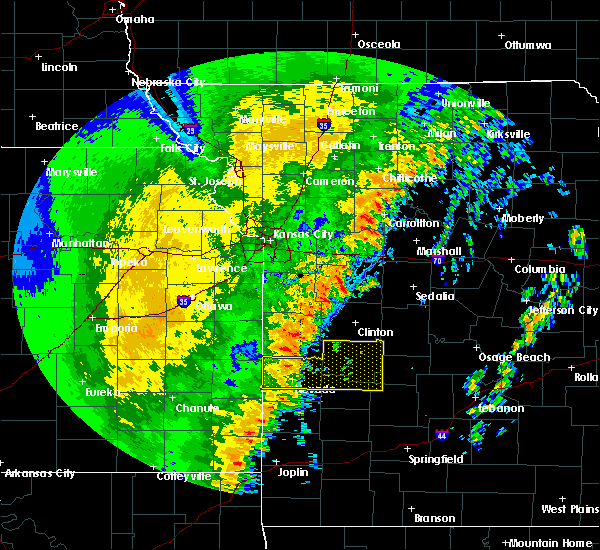 Radar Image for Severe Thunderstorms near Richards, MO at 10/21/2017 10:39 PM CDT