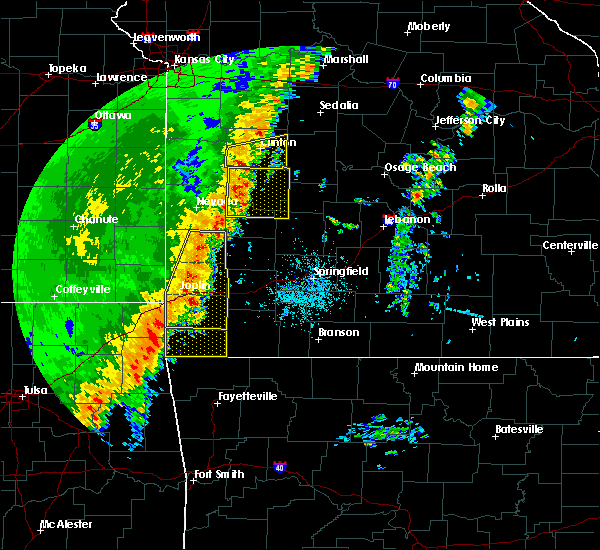 Radar Image for Severe Thunderstorms near Anderson, MO at 10/21/2017 11:21 PM CDT