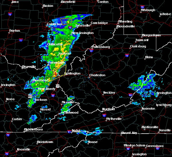 Radar Image for Severe Thunderstorms near Huntington, WV at 1/22/2018 11:53 PM EST