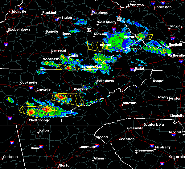 Radar Image for Severe Thunderstorms near Middlesborough, KY at 3/17/2018 7:17 PM EDT