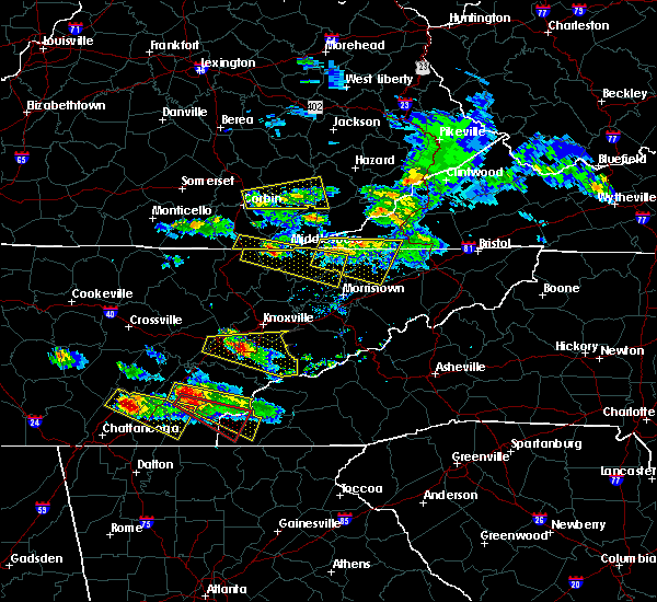 Radar Image for Severe Thunderstorms near Cumberland Gap, TN at 3/17/2018 7:35 PM EDT
