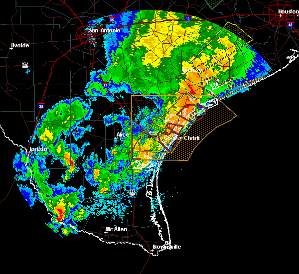 Radar Image for Severe Thunderstorms near Port Aransas, TX at 3/29/2018 1:42 AM CDT