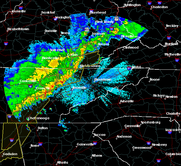 Radar Image for Severe Thunderstorms near Harrogate, TN at 4/4/2018 12:55 AM EDT