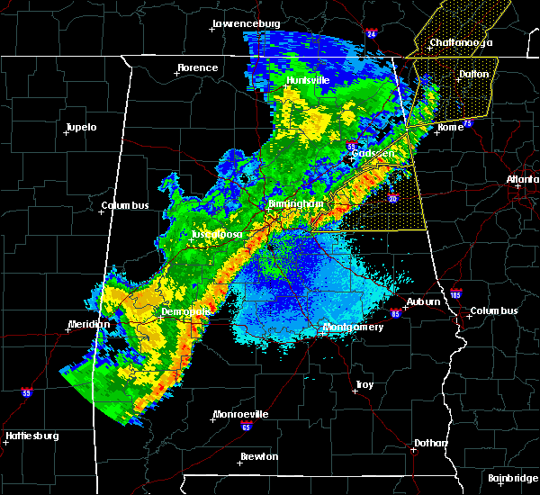 Radar Image for Severe Thunderstorms near Lincoln, AL at 4/4/2018 12:29 AM CDT