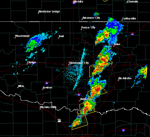 Radar Image for Severe Thunderstorms near Prague, OK at 4/13/2018 3:14 PM CDT